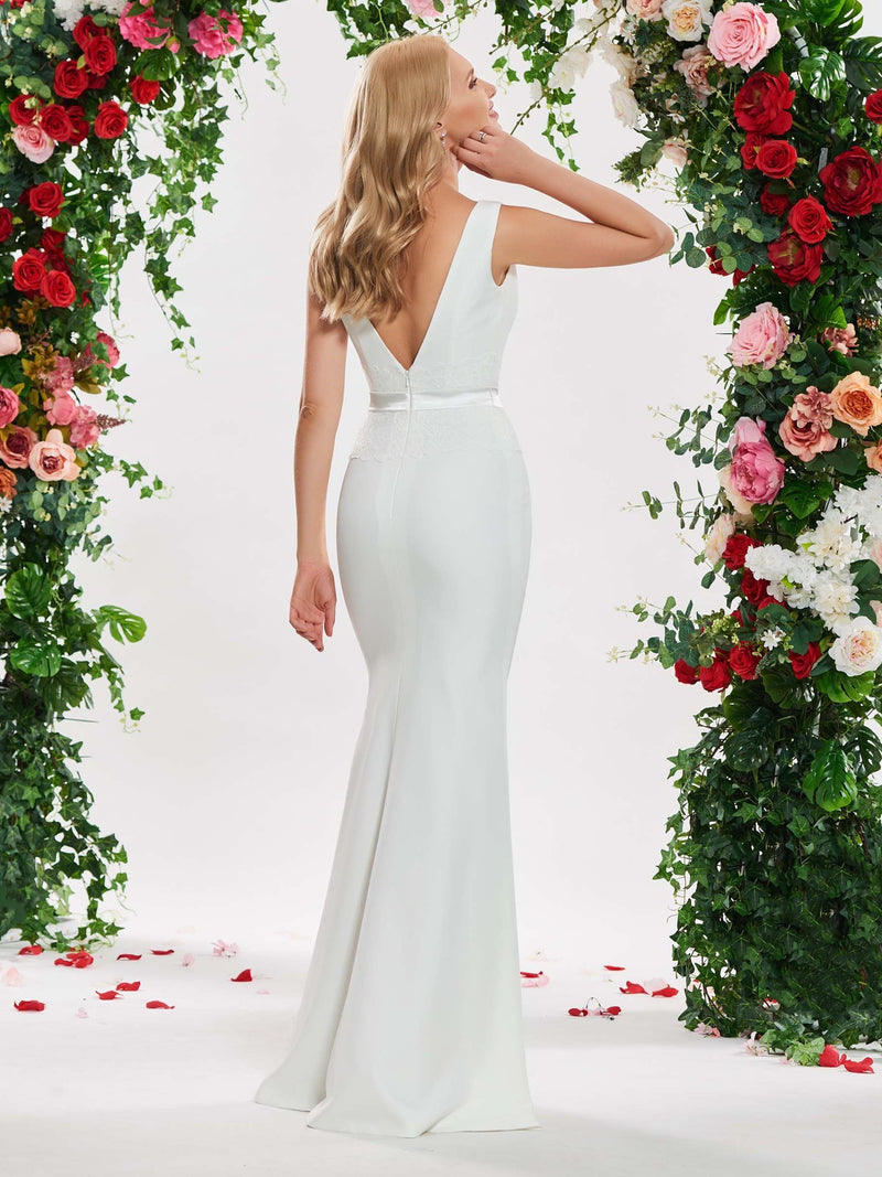 V-Neck Floor-Length Beading Sheath/Column Church Wedding Dress