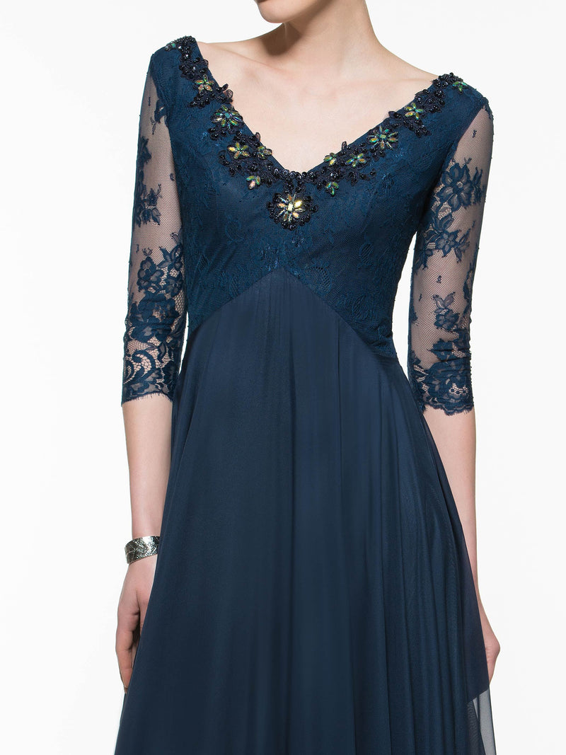 Sweep/Brush A-Line Lace 3/4 Length Sleeves Evening Dress
