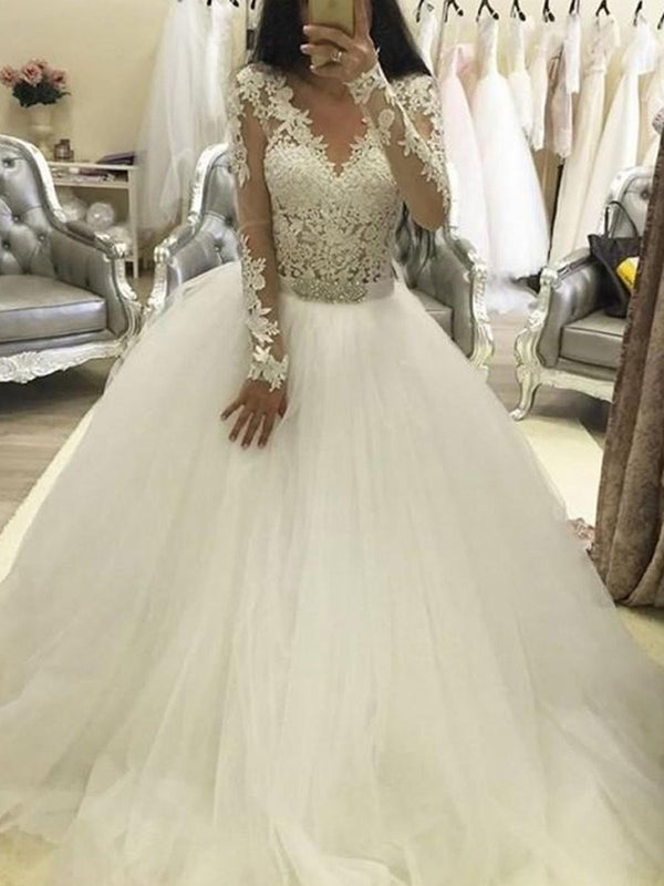 Beading Ball Gown Long Sleeves V-Neck Hall Wedding Dress