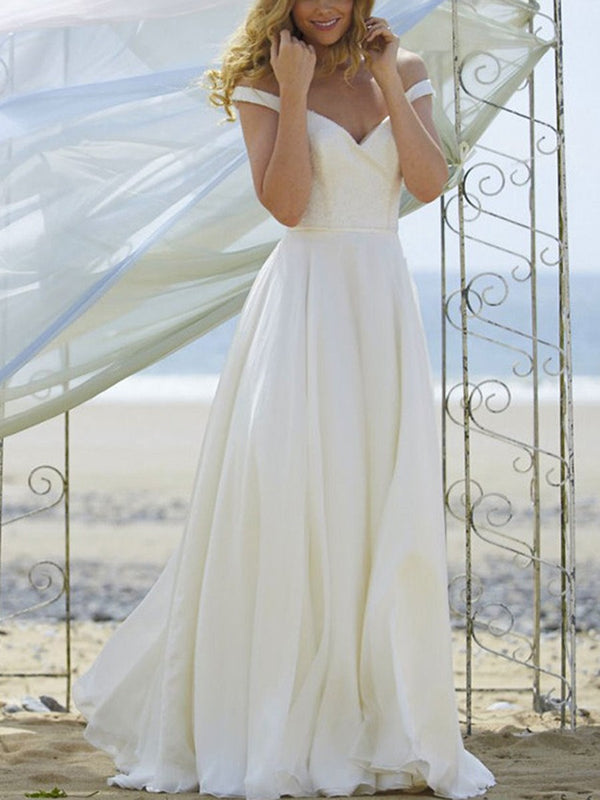 Button Off-The-Shoulder Floor-Length Sleeveless Hall Wedding Dress