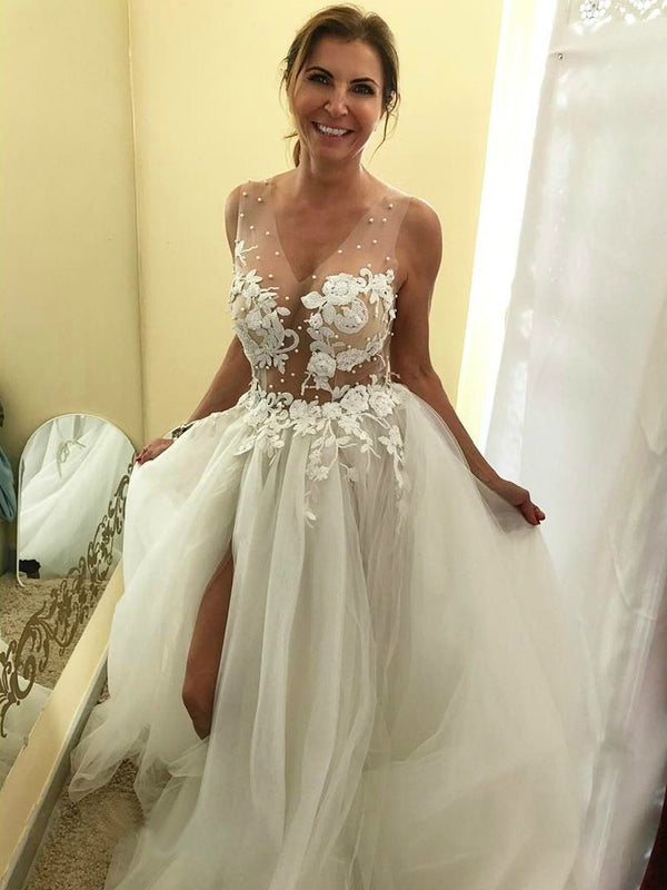 Floor-Length Sleeveless A-Line Appliques Hall Wedding Dress