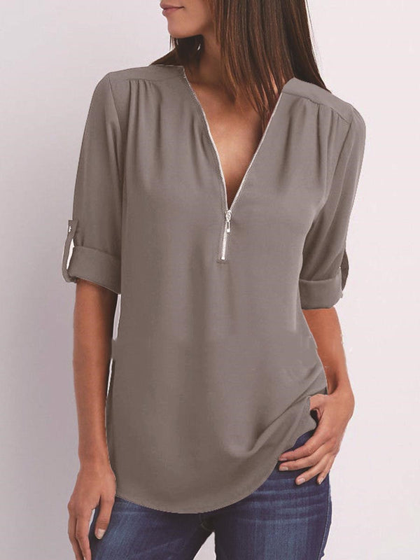 Regular Plain V-Neck Mid-Length Long Sleeve Blouse