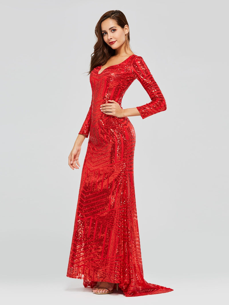 Sweep/Brush V-Neck Trumpet/Mermaid Long Sleeves Evening Dress