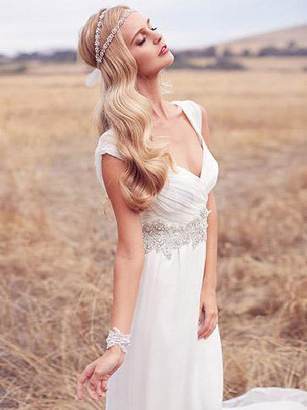 Appliques Halter A-Line Sleeveless Garden/Outdoor Wedding Dress