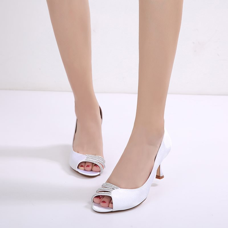 Heel Covering Slip-On Peep Toe Horse-Shoe Heel Rhinestone Plain Sandals