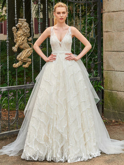 Ball Gown Lace Sweep/Brush Sleeveless Hall Wedding Dress