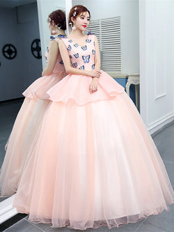 Floor-Length Sleeveless V-Neck Appliques Quinceanera Dress