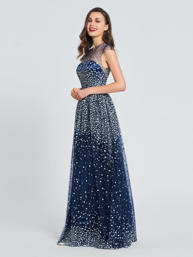 A-Line Scoop Cap Sleeves Sequins Prom Dress