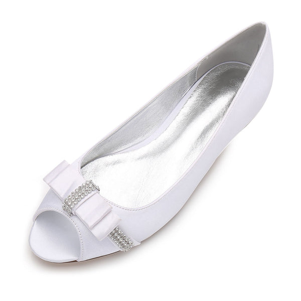 Block Heel Rhinestone Peep Toe Slip-On Wedding Plain Thin Shoes