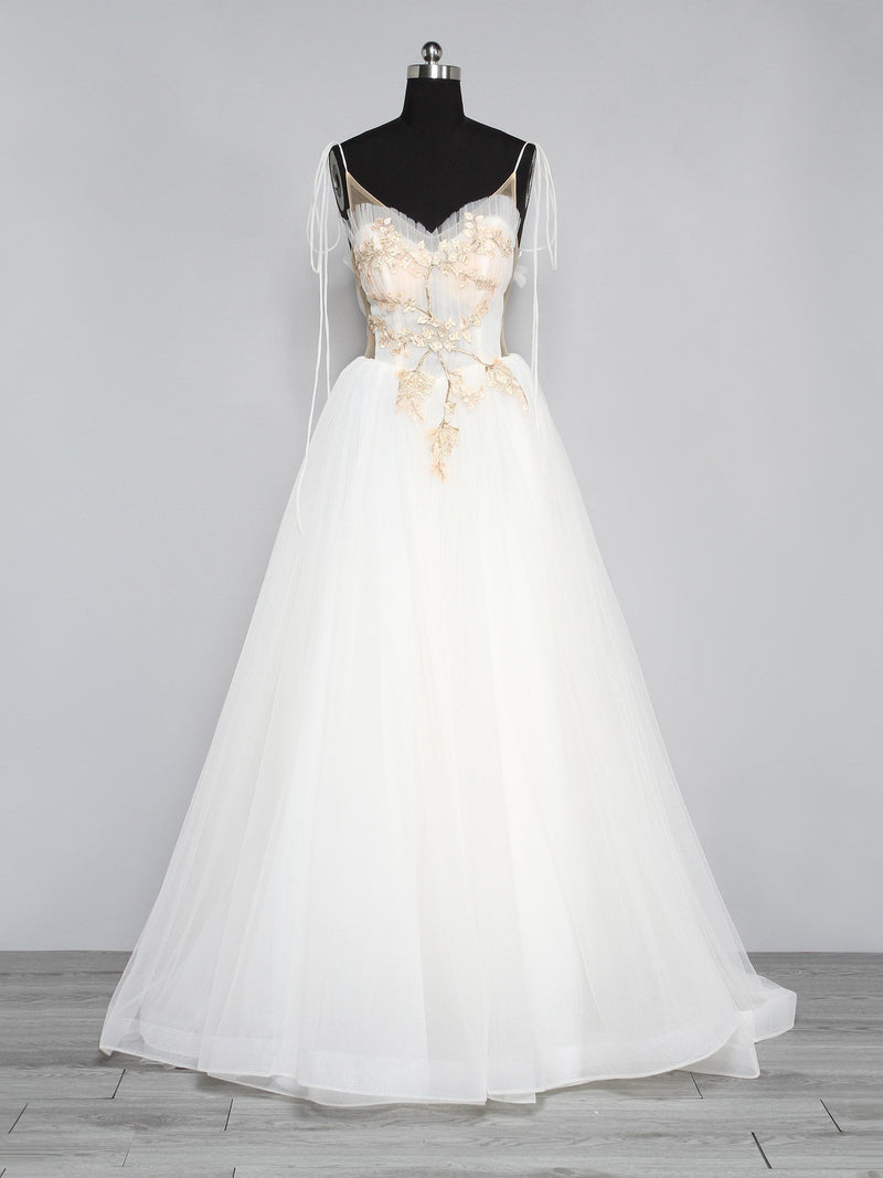 Embroidery A-Line Strapless Sleeveless Church Wedding Dress