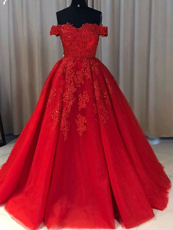 Sweep/Brush Floor-Length Ball Gown Short Sleeves Evening Dress