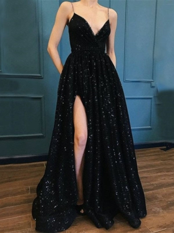 Spaghetti Straps A-Line Floor-Length Sequins Evening Dress