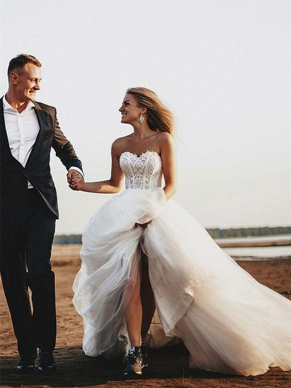 A-Line Floor-Length Sweetheart Court Church Wedding Dress
