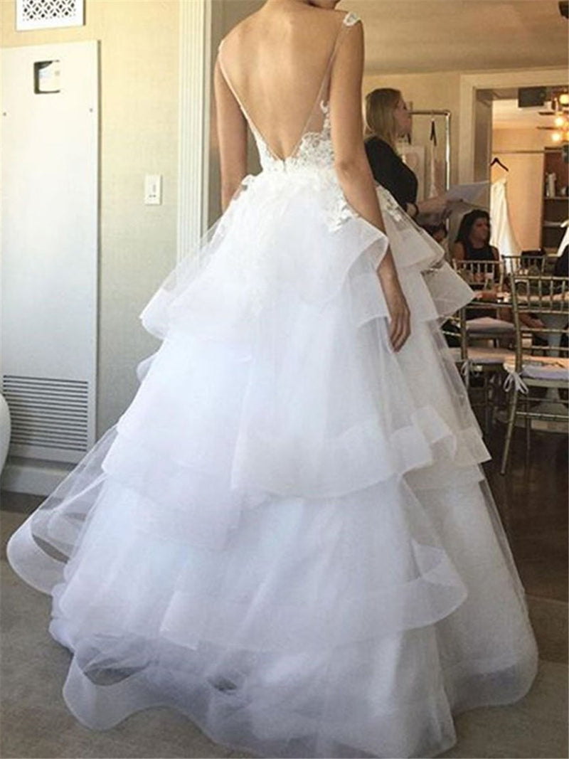 Sleeveless Ball Gown Appliques Straps Garden/Outdoor Wedding Dress