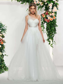 One Shoulder Floor-Length Lace A-Line Hall Wedding Dress