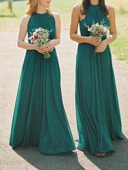 A-Line Halter Sleeveless Floor-Length Wedding Party Dress