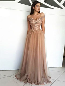 Cap Sleeves Off-The-Shoulder Ball Gown Sweep/Brush Evening Dress