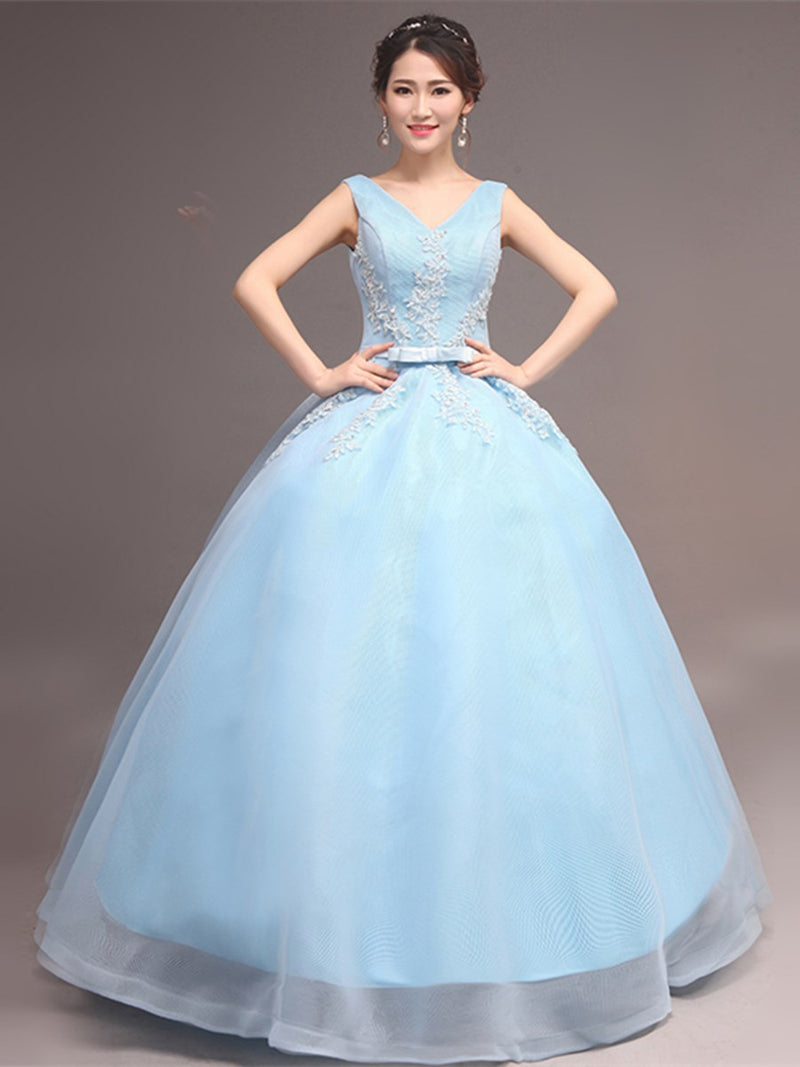 Sashes/Ribbons Ball Gown Sleeveless V-Neck Quinceanera Dress