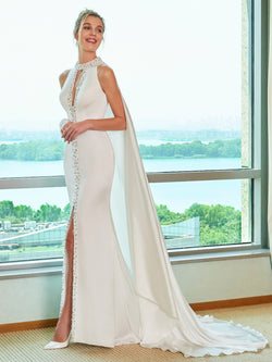 Hollow Trumpet/Mermaid Sleeveless Jewel Garden/Outdoor Wedding Dress