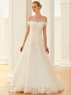 Off-The-Shoulder Pearl Short Sleeves A-Line Church Wedding Dress