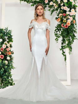 Floor-Length Spaghetti Straps Lace Sleeveless Hall Wedding Dress