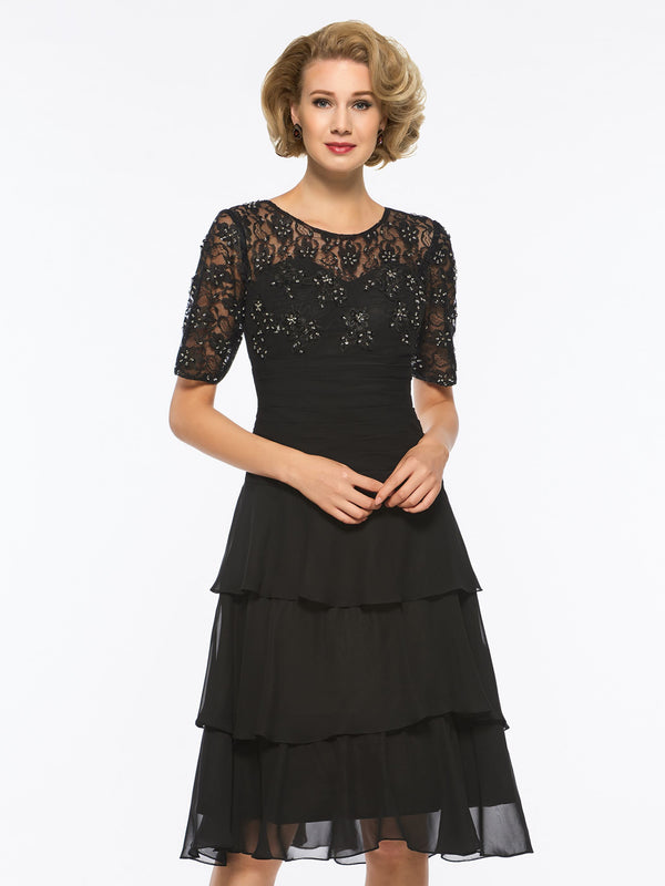 Short Sleeves Scoop Lace A-Line Cocktail Dress