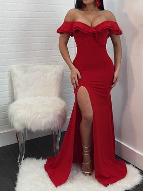 V-Neck Sleeveless Floor-Length Bodycon High Waist Dress