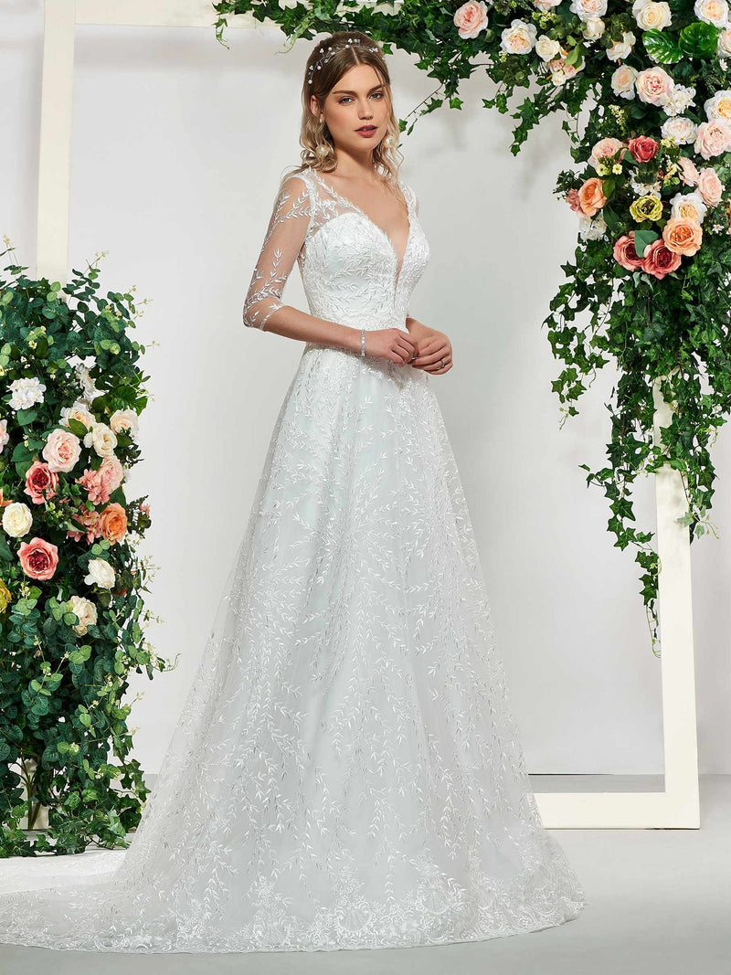 Court Floor-Length A-Line V-Neck Church Wedding Dress
