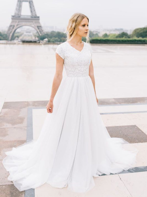 Court A-Line Floor-Length Lace Church Wedding Dress