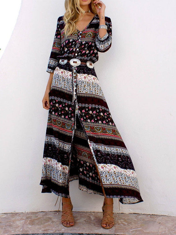 Ankle-Length Long Sleeve Print Pullover Fall Dress