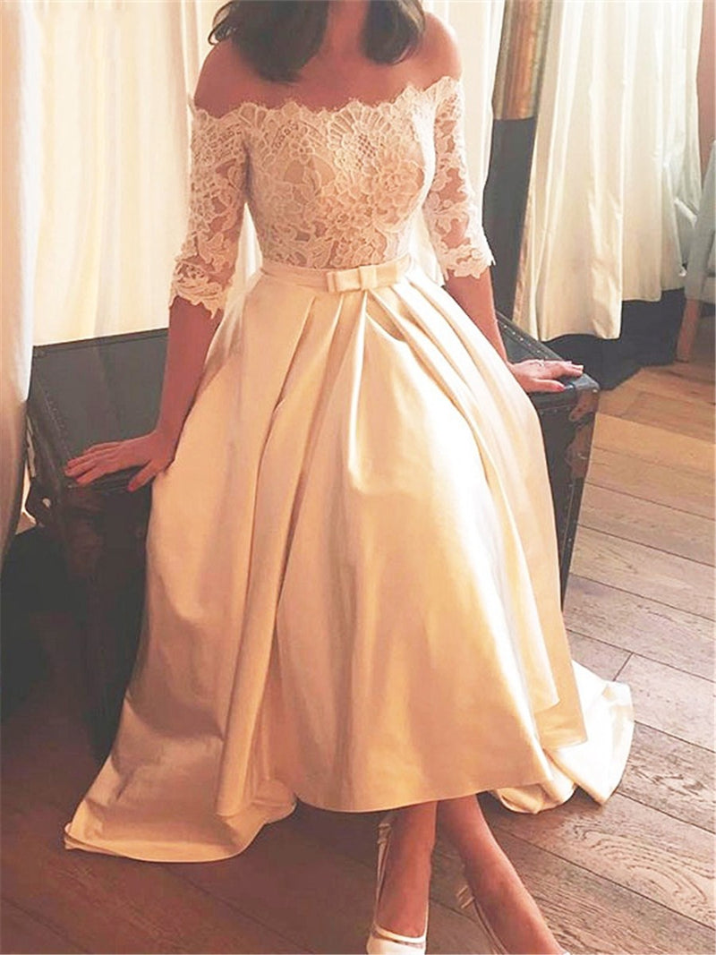 Half Sleeves A-Line Asymmetry Off-The-Shoulder Hall Wedding Dress