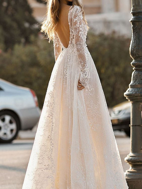 Lace Ball Gown Floor-Length V-Neck Garden/Outdoor Wedding Dress