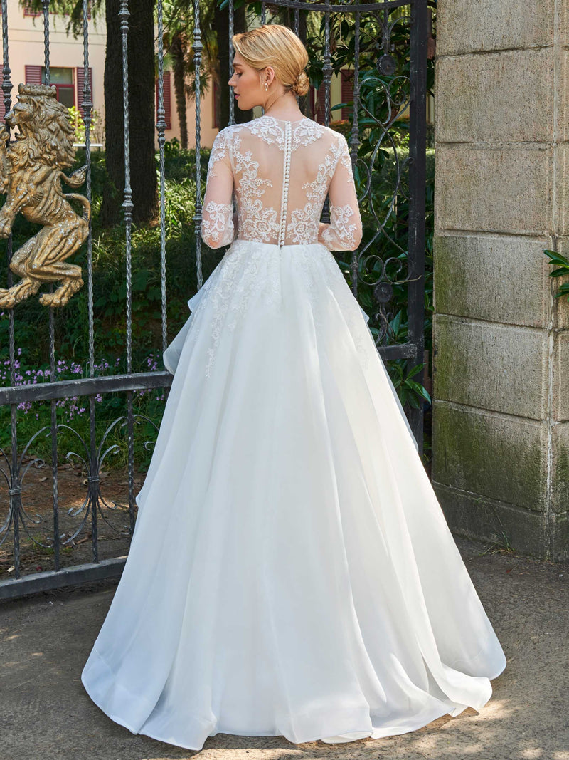 Jewel Floor-Length A-Line Long Sleeves Garden/Outdoor Wedding Dress