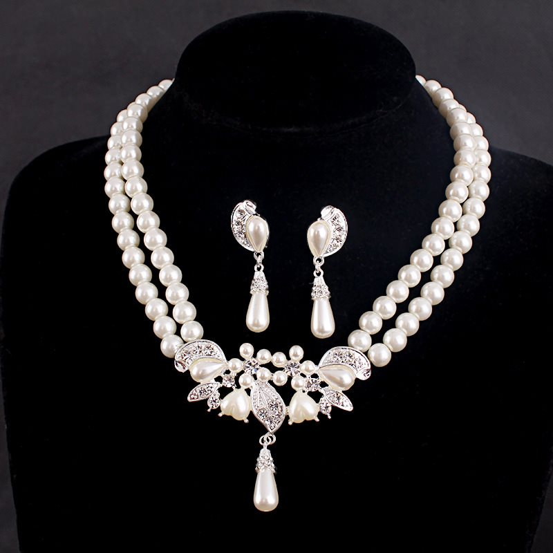 Pearl Inlaid Necklace Wedding Jewelry Sets