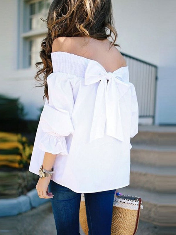 Plain Off Shoulder Long Sleeve Standard Blouse