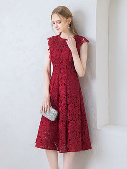 A-Line Tea-Length Jewel Cap Sleeves Formal Dress