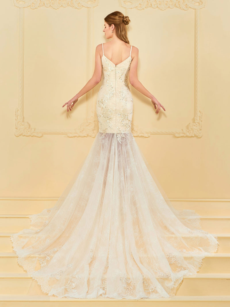 Trumpet/Mermaid Floor-Length Cathedral Sleeveless Church Wedding Dress