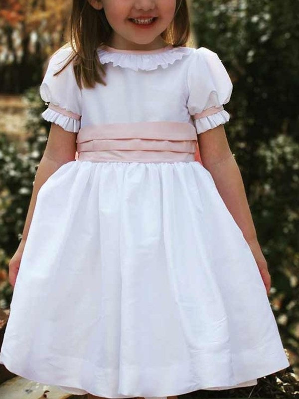 Short Sleeves A-Line Scoop Tea-Length Flower Girl Dress