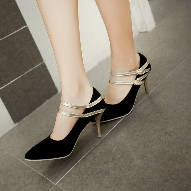 Stiletto Heel Pointed Toe Line-Style Buckle Plain Low-Cut Upper Thin Shoes