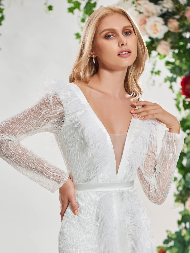 Floor-Length Long Sleeves V-Neck Chapel Hall Wedding Dress