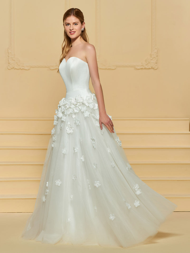 Appliques Sleeveless Floor-Length A-Line Hall Wedding Dress