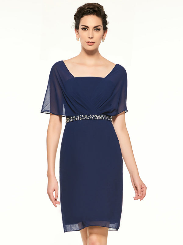 Beading Sheath/Column Square Short Sleeves Evening Dress