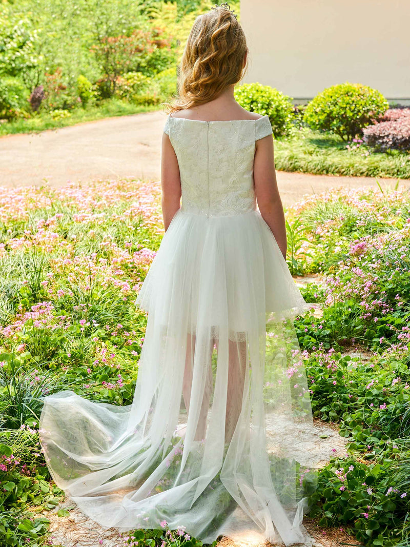 Lace Off-The-Shoulder Fall Short/Mini Flower Girl Dress
