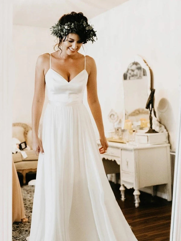 Spaghetti Straps Floor-Length A-Line Sleeveless Garden/Outdoor Wedding Dress