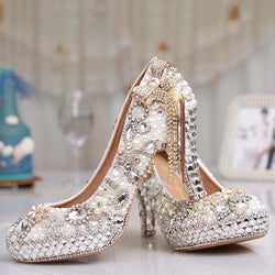Round Toe Chunky Heel Slip-On Bow Low-Cut Upper Wedding Thin Shoes