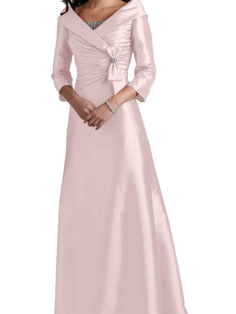 Floor-Length V-Neck 3/4 Length Sleeves A-Line Wedding Party Dress