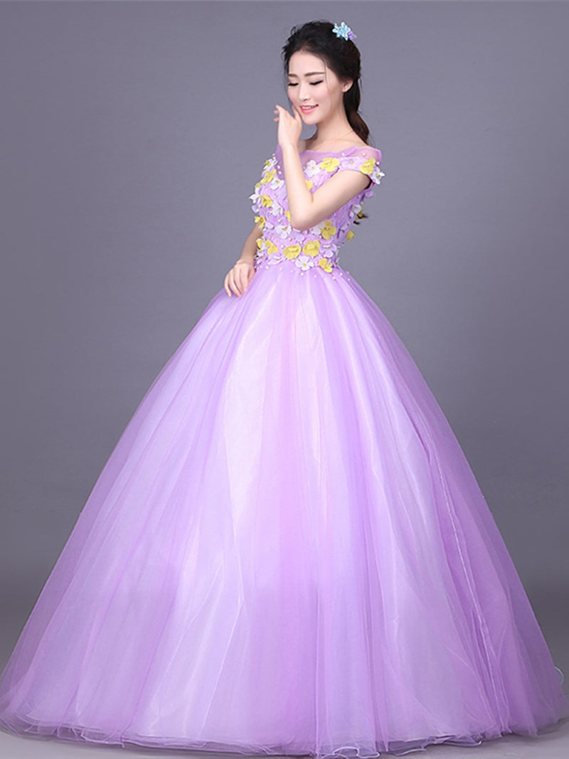 Bateau Cap Sleeves Lace Ball Gown Quinceanera Dress