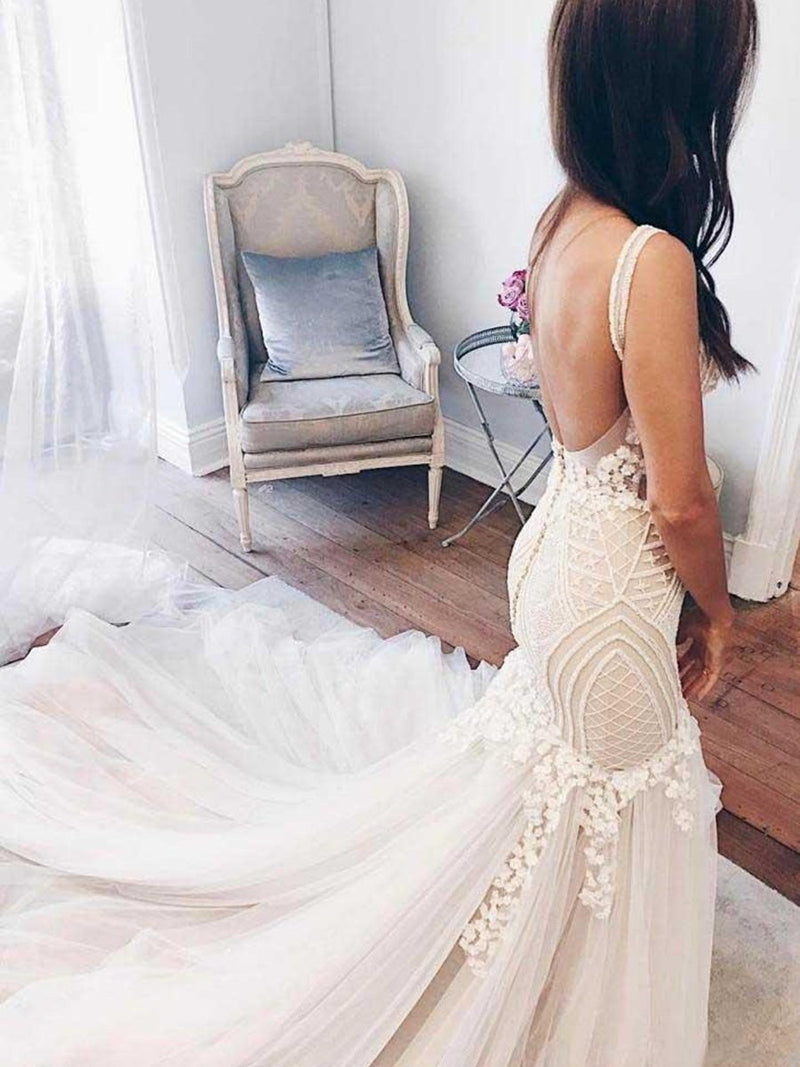 Sleeveless V-Neck Floor-Length Appliques Hall Wedding Dress