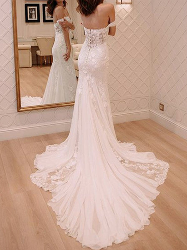 Lace Floor-Length Trumpet/Mermaid Court Hall Wedding Dress