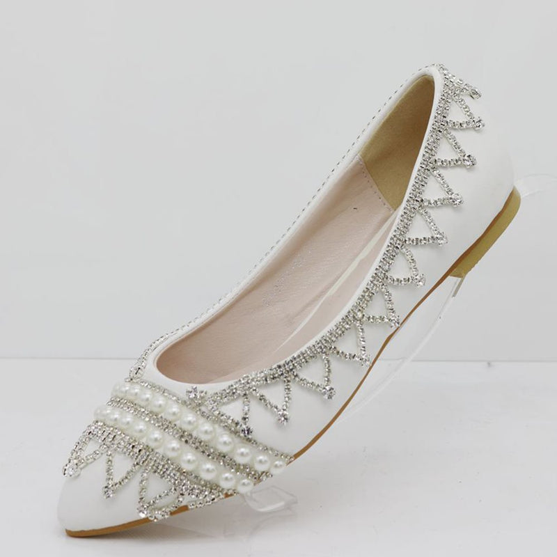 Beads Slip-On Pointed Toe Block Heel Plain 1cm Thin Shoes